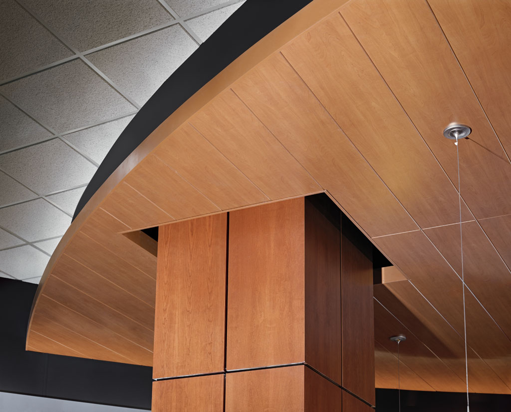 300 C Linear Plank Metal Ceiling In Wood Look Decorated Paint Finish By  Hunter Douglas.