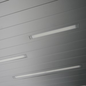 300 C Linear Plank Metal Ceiling by Hunter Douglas.  Used by arrangement with Hunter Douglas. All rights reserved.  - MC14